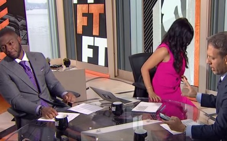 """Molly Qerim walks off the ESPN's """"First Take"""" set after Max Kellerman shared his thoughts on Kobe Bryant's all-decade ranking"""