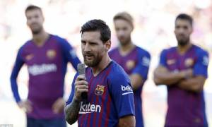 Barcelona's Newly appointed Captain Lionel Messi Addresses the Camp Nou ahead of the match against Boca Juniors