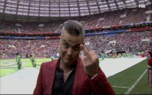 Fox apologizes for Robbie Williams middle finger gesture at the 2018 FIFA World Cup Opening Ceremony