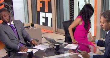 "Molly Qerim walks off the ESPN's ""First Take"" set after Max Kellerman shared his thoughts on Kobe Bryant's all-decade ranking"