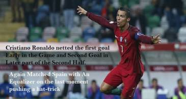 One Man Army Cristiano Ronaldo Equalizes with Spain, With A hat-trick (First Hat-trick in 2018 World Cup)